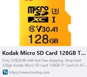 Kodak Micro SD Card 128GB TF Card U3 A1 V30 Memory Card 100MB/s Reading Speed 4K Video Record Coupon: HTKDK Price:$18.99