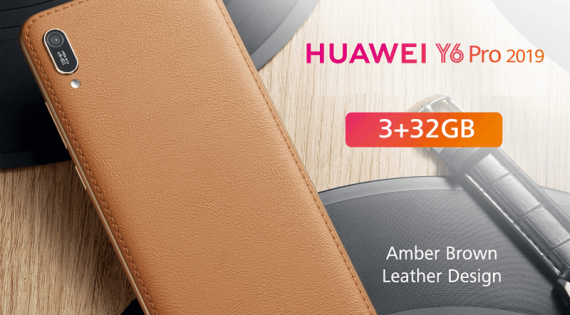 Huawei Y6 Pro 2019 in a Beautifully Crafted Amber Brown Leather Casing