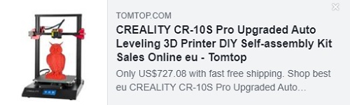 CREALITY CR-10S Pro Upgraded Auto Leveling 3D Printer DIY Self-assembly Kit   Price: $469.99   Delivered from EU Warehouse