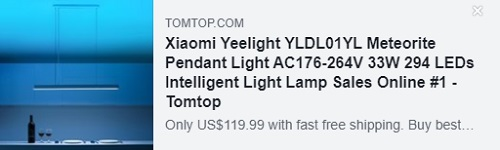 Xiaomi Yeelight AC176-264V 33W 294 LEDs Intelligent Ceiling Light Lamp   Price: $79.99   Delivered from EU Warehouse